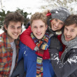 Group of young adults in snow — Stock Photo