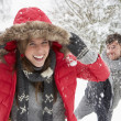 Young couple having snowball fight — Stock Photo #11884738