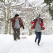 Young couple having snowball fight — Stock Photo #11884760