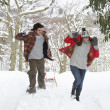 Young couple having snowball fight — Stock Photo #11884763