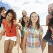Teenage girls walking on beach — Stock Photo #11884864