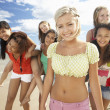 Stock Photo: Teenage girls walking on beach