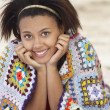 Portrait teenage girl on beach — Stockfoto