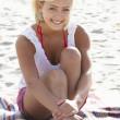 Portrait teenage girl on beach — Stock Photo #11884929