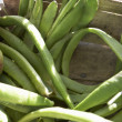 Close up basket of runner beans - Stock Photo