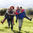 Couples on country walk — Stock Photo