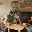 Young couples in cosy cottage — Stockfoto