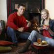 Young couple making toast on open fire — Stock Photo