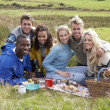 Stock Photo: Young adults on country picnic