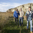 Stock Photo: Young men on country walk