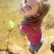 Happy girl fishing — Stock Photo