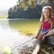 Stock Photo: Happy girl fishing at lake