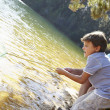 Man and boy fishing together — Stock Photo
