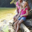 Woman and girl fishing together — Stock Photo