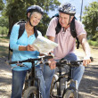 Senior couple with map on country bike ride — Stock Photo #11885922