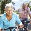 Senior couple on country bike ride - Stockfoto