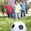 Stock Photo: Grandparents playing football with grandchilderen