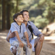 Father and son on country walk — Stock Photo