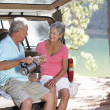 Senior couple on country picnic — Stock Photo