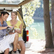 Foto Stock: Young couple on country picnic