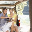 Young couple on country picnic — Stock Photo