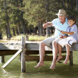 Stock Photo: Senior man fishing with grandson