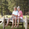 Senior couple fishing — Stock Photo