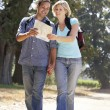 Couple with map on country walk — Stock Photo #11886206
