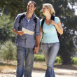 Couple with map on country walk — Stock fotografie