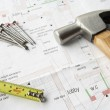 Close up house plans — Stock Photo