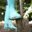 Person digging in garden — Stockfoto
