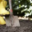 Woman digging in garden — Stock Photo