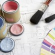 Decorating tools and materials — Stock Photo