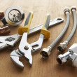 Plumbing tools and materials - Zdjcie stockowe
