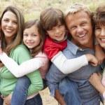 Multi generation family outdoors — Stock Photo