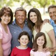 Multi generation Hispanic family in park — Stock Photo #11887596