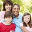 Stock Photo: Hispanic grandparents and grandchildren outdoors