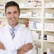 Portrait American pharmacist at work — Stock Photo