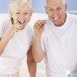 Senior couple brushing teeth — Stock Photo #11888190