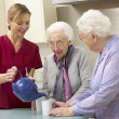 Stock Photo: Senior women at home with carer