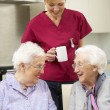 Senior women with carer enjoying meal at home — Stok fotoğraf