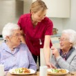 Senior women with carer enjoying meal at home — Stock Photo #11888839