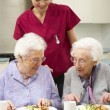 Senior women with carer enjoying meal at home — Stock Photo