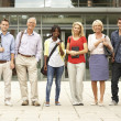 Mixed group of students outside college — Stock Photo #11889720