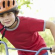 Boy riding bike — Foto Stock