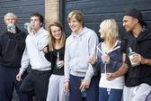 Group Of Teenagers Hanging Out Together Outside Drinking — Stock Photo