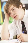 Zdůraznil mužské dospívání student studuje v učebně — Stock fotografie