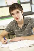 Mužské dospívání student studuje v učebně — Stock fotografie