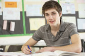 Male Teenage Student Studying In Classroom — Stock Photo