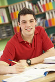 Teenage Male Student In Working In Classroom — Stock Photo